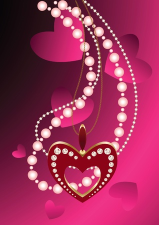 necklaces: Heart necklace and beads against pink background for valentin day illustration