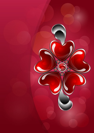 Abstract background with glossy red heart-shaped bijouterie Vector
