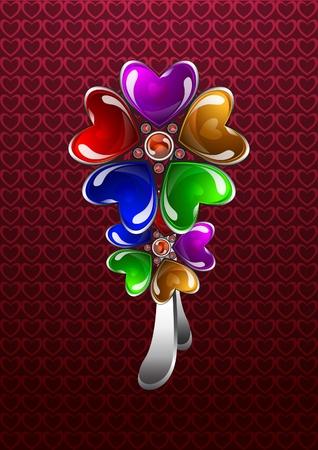 Glossy bijouterie florale color�e