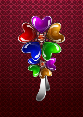 Glossy colorful floral bijouterie Vector