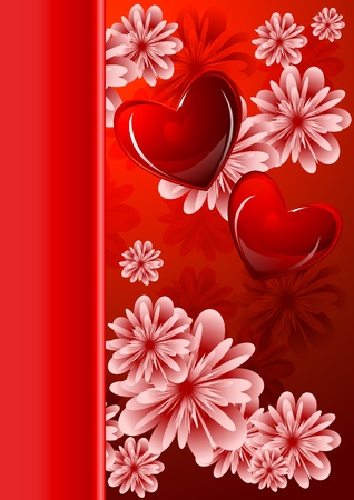 Abstract floral background with glossy red hearts for valentine's day Vector