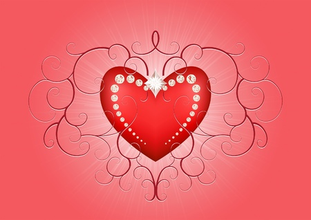 Red heart background with flourishes for valentines day Stock Vector - 11386751