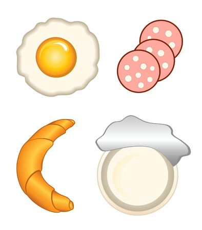 Breakfast icons - egg, sausage, bakery and yogurt, isolated on white Vector