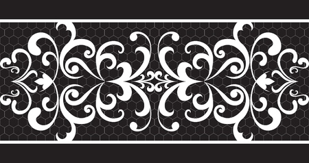 openwork: Seamless lace stripe on black background Illustration
