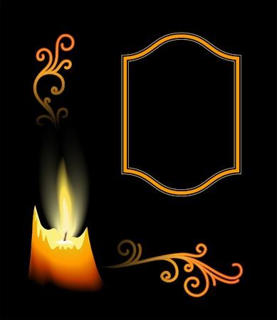 peaceful background: Burning candle and flourishes on black, corner element for design