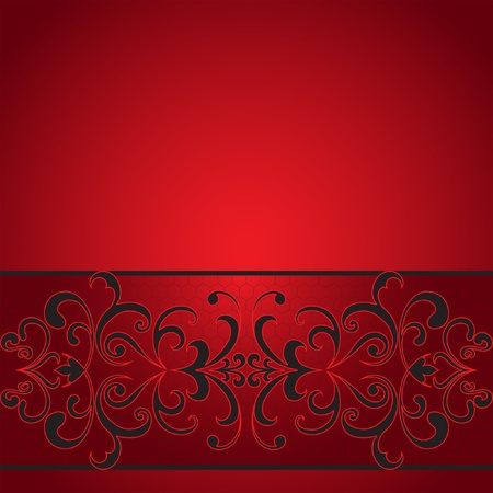 red floral: Seamless decorative stripe on red background Illustration