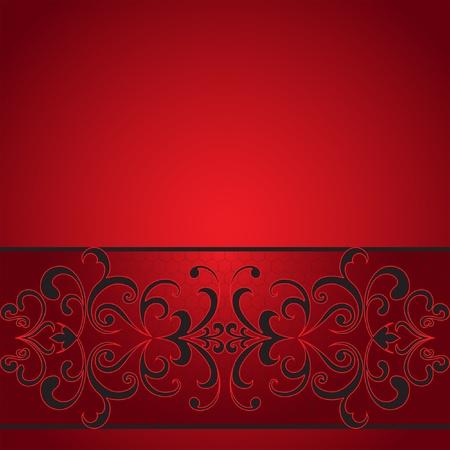 red swirl: Seamless striscia decorativa su sfondo rosso