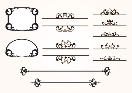 Set of decorative frames and design elements