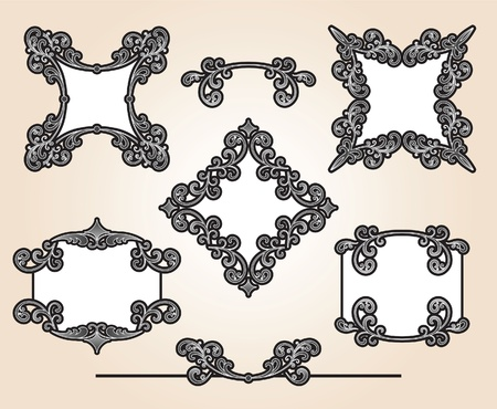 Set of decorative frames and design elements Stock Vector - 12270113