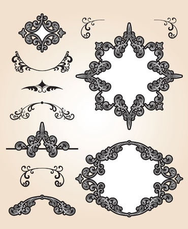 Set of decorative frames and design elements Stock Vector - 12270112