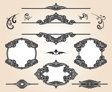 Set of decorative frames and design elements Vector