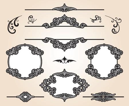 Set of decorative frames and design elements