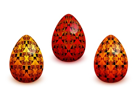 Painted easter eggs on white Vector