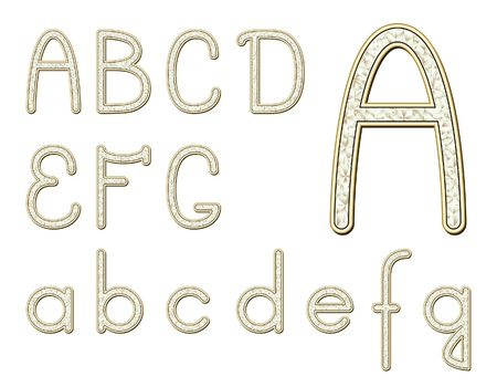 Diamond font isolated on white, set of letters Vector