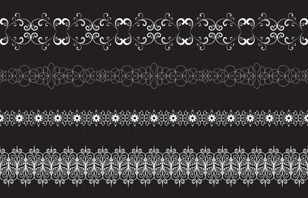 lineas horizontales: Juego de las fronteras sin fisuras aisladas en negro, elementos para el dise�o
