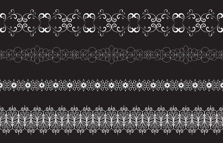 Set of seamless borders isolated on black, elements for design Vector