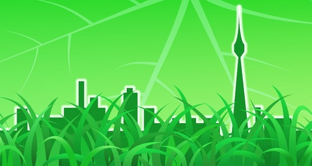 Green meadow and city skyline, ecological background Vector