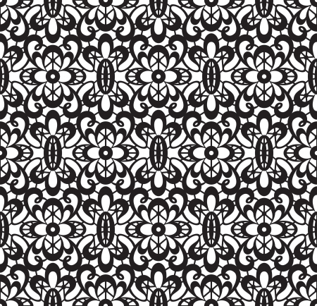 Seamless black lace pattern on white background