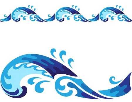 ocean storm: Horisontal cartoon seamless wave isolated on white Illustration