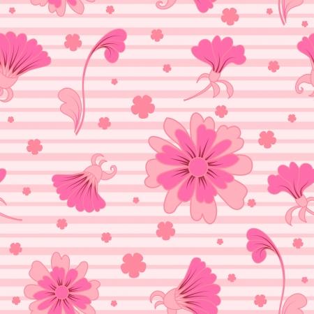 karanfil: Scattered pink flowers, seamless pattern Çizim