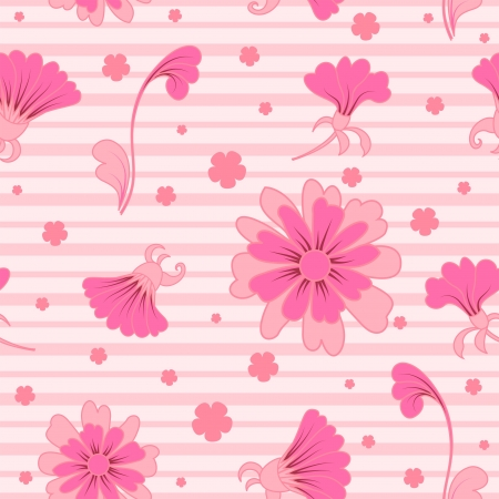 Scattered pink flowers, seamless pattern Illustration