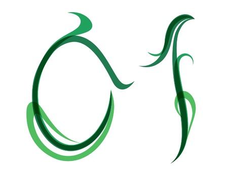 Green grassy summer font, set of digits