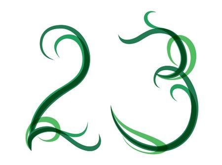grassy: Green grassy summer font, set of digits