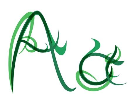 wild grass: Verde c�sped de la fuente de verano, letra A Vectores