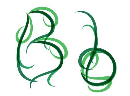 Green grassy summer font, letter B Illustration
