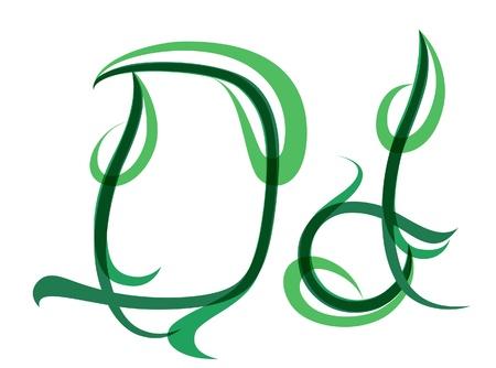 grass blade: Green grassy summer font, letter D Illustration