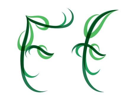 Green grassy summer font, letter F Vector