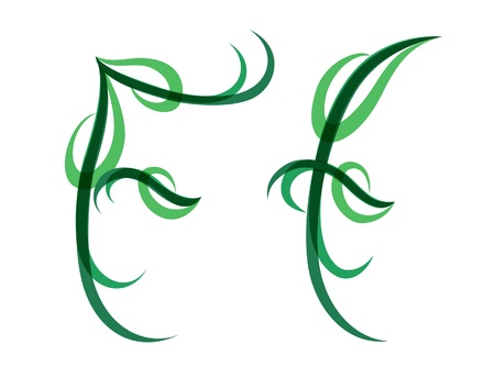 Green grassy summer font, letter F Illustration