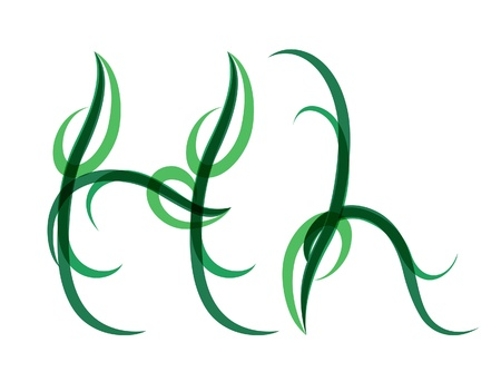 Green grassy summer font, letter H Illustration