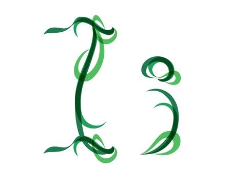 Green grassy summer font, letter I Vector