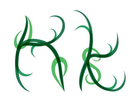 Green grassy summer font, letter K