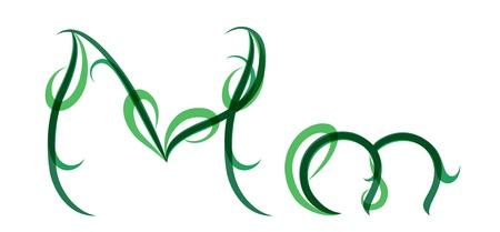 grassy: Green grassy summer font, letter M Illustration