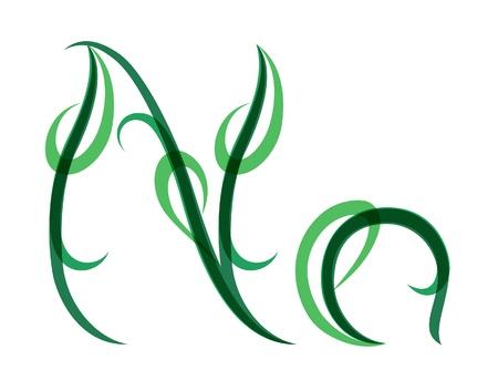 Green grassy summer font, letter N Stock Vector - 14035049