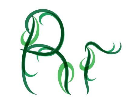 Green grassy summer font, letter R Stock Vector - 14035036
