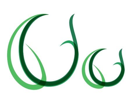 Green grassy summer font, letter V Vector