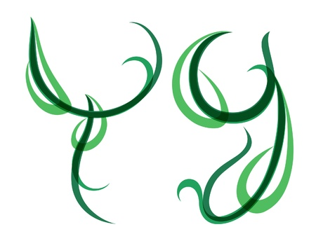 grass blade: Green grassy summer font, letter Y Illustration