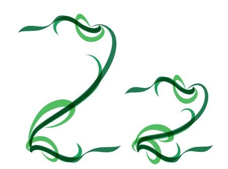 Green grassy summer font, letter Z Illustration