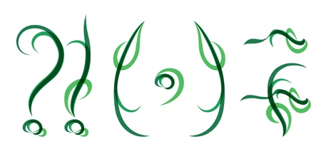 Green grassy summer font, set of symbols