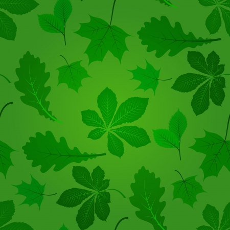 Seamless summer background with green leaves Vector