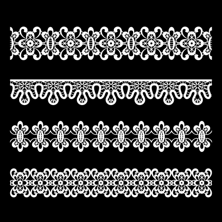 Set of seamless lace borders isolated on black