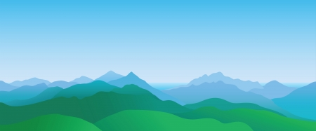 panoramic view: Mountain scenery, abstract summer landscape