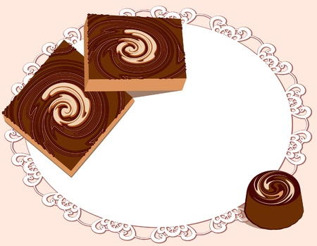 Chocolate sweets on lacy doily Vector
