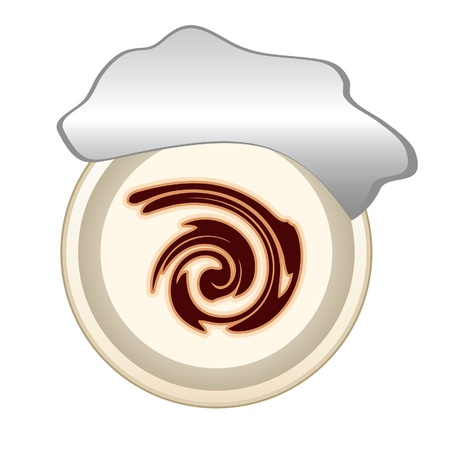 chocolate swirl: Cup of cream with chocolate swirl isolated on white Illustration