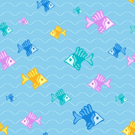 Abstract fish background, seamless pattern Vector