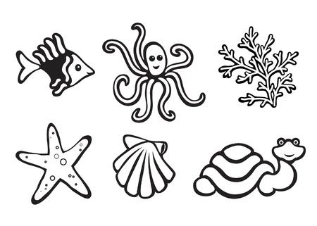 petoncle: Animaux marins isolés sur fond blanc, ensemble d'icônes