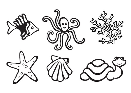 scallops: Sea animals isolated on white, set of icons Illustration